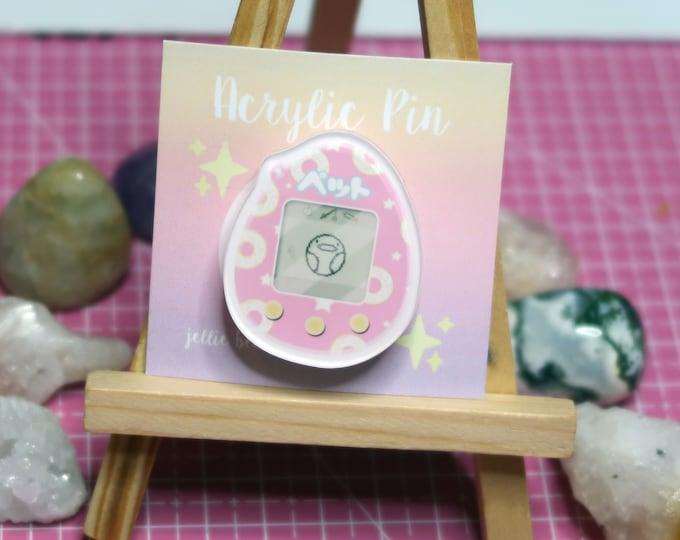 TAMAGOTCHI Acrylic Pin / Kawaii, Cute, Digital Pet, Blue, Pink, Illustration 1.5 inch