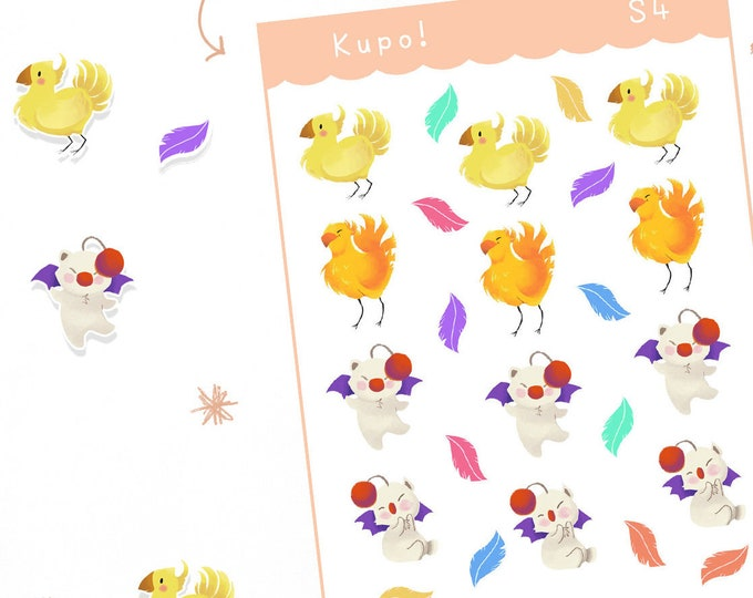 Chocobo and Moogle Planner Stickers / Bullet Journal / Cute Stickers / Labels