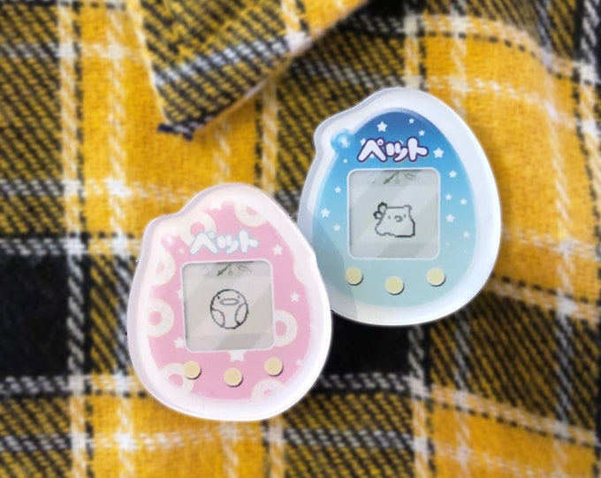 "Tamagotchi 1"" inch acrylic pin / Kawaii / Virtual Pet / Ita Bag / 90s Kids"