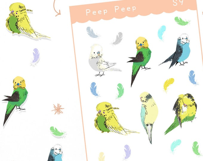 Budgie Planner Stickers / Bullet Journal / Cute Stickers / Labels / Parakeet
