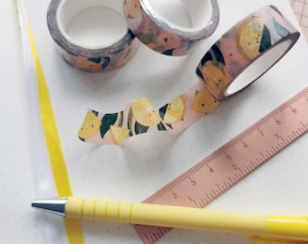 Lemons Washi Tape / Bullet Journal Diary Planners Stickers Kawaii Cute Fruity Sour Pink Yellow Girly