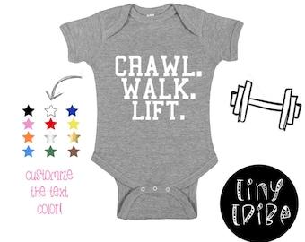 bffb74546 Crawl Walk Lift Baby bodysuit, Crossfit baby bodysuit Baby Gym Shirt, Crossfit  Baby romper, Fitness bodysuit, Weightlifting Baby