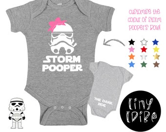8337eabbc Storm Pooper Star Wars baby bodysuit with bow/Storm Pooper girl/The Dark  Side Star Wars bodysuit/Storm Trooper/The Empire Strikes Back