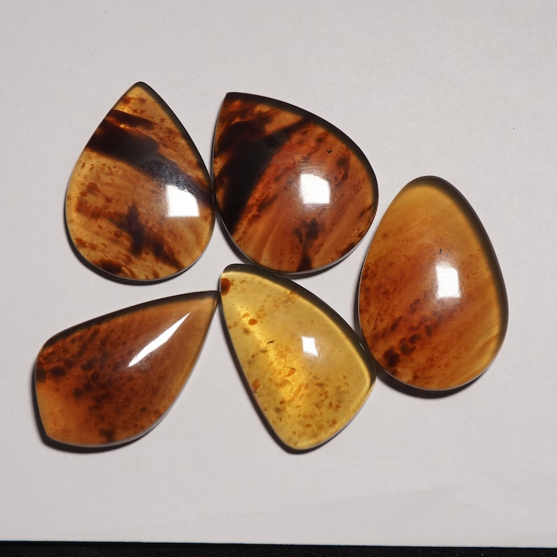 Indonesian blue Amber Cabochons with floral inclusions loose gemstones C0004
