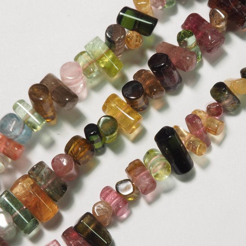 Tourmaline Rainbow Multi barrel form bead plain strand 16 inch S0228
