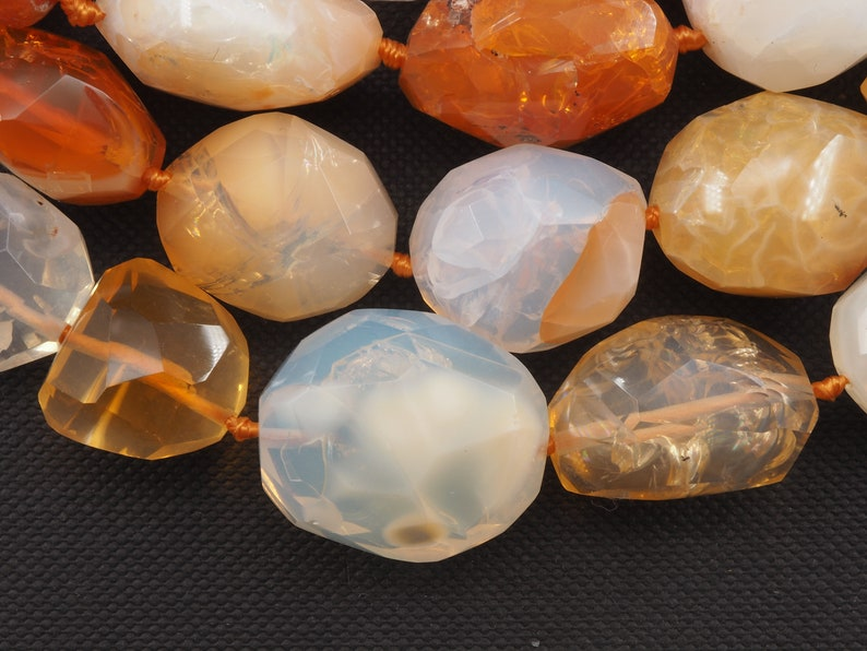 Mexican fire opal free form faceted bead strand 16 inch S0017