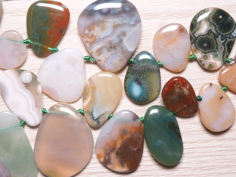 Ocean Jasper plain flat irregular bead strands S0453