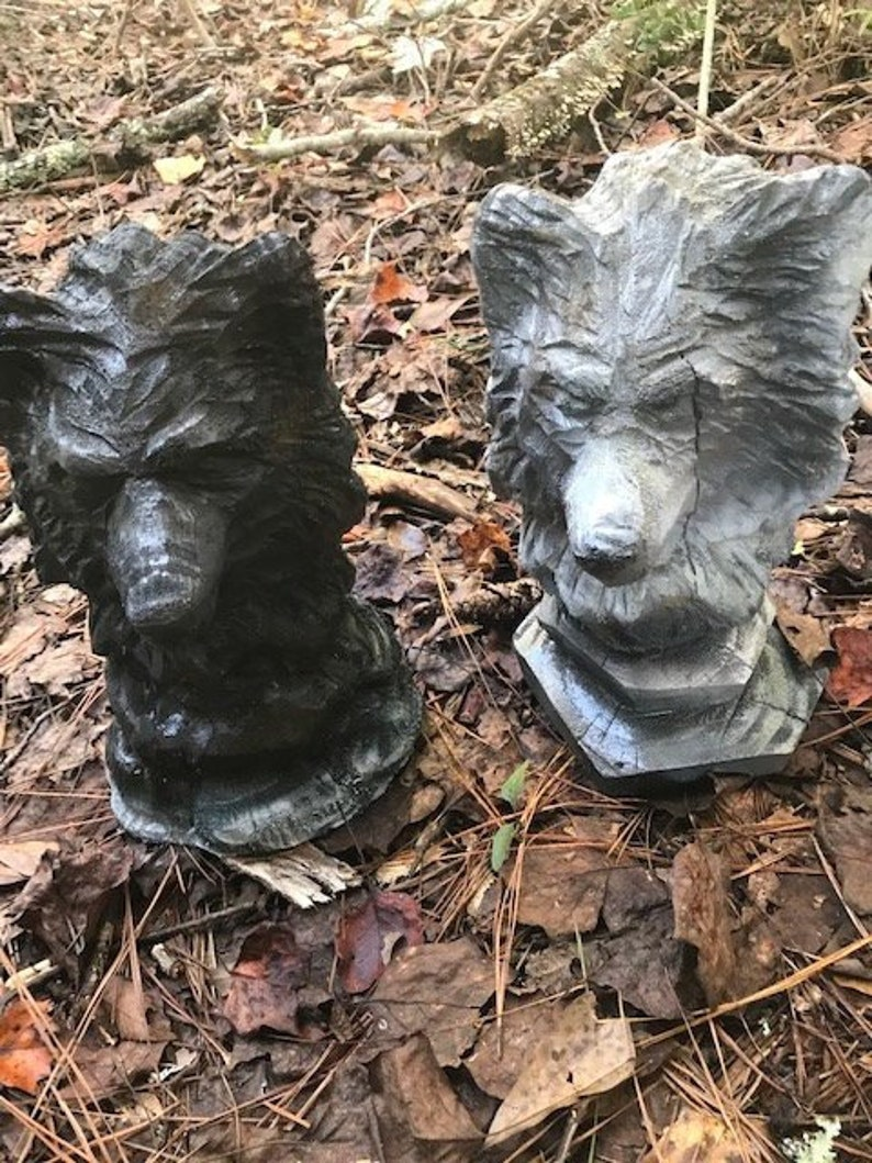 Chainsaw carved wolf heads etsy