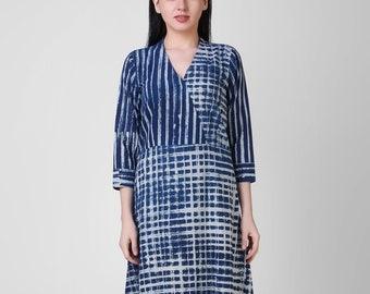 c59897a988 Indigo Dabu Block Print Geometrical hand print cotton Dress
