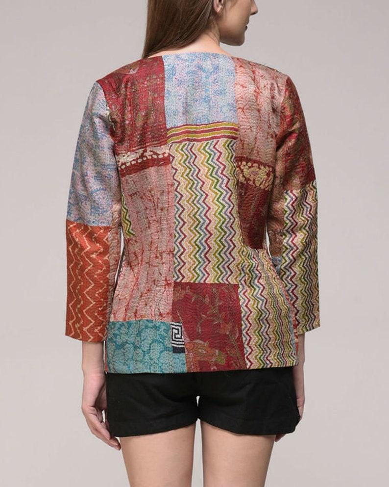 Vintage Silk Kantha Embroidered Jacket
