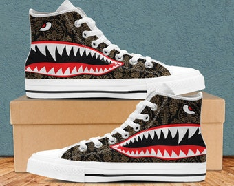 d627b41fe Supreme Bape Shoes, Supreme Bape Inspired Custom High Top Shoes for Men and  Women. Supreme Bape Shark Teeth High Top Shoe Accessories