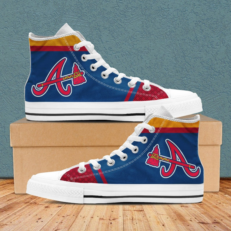 c95ee1fbd6eb6 Atlanta Braves Shoes, Atlanta Braves Custom High Top Shoes for Men and  Women. Atlanta Braves Baseball High Top Shoe Accessories