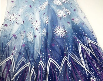 Frozen Tulle Fabric, snowflakes tulle, snow tulle, winter tulle, elsa tulle, elsa costume, for Costumes, Tutu's, Wings, Dresses, Costume