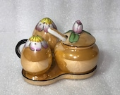 LUSTER NORITAKE Flower CONDIMENT Mustard Cruet Sugar Jam Lustre Salt and Pepper Shaker Set