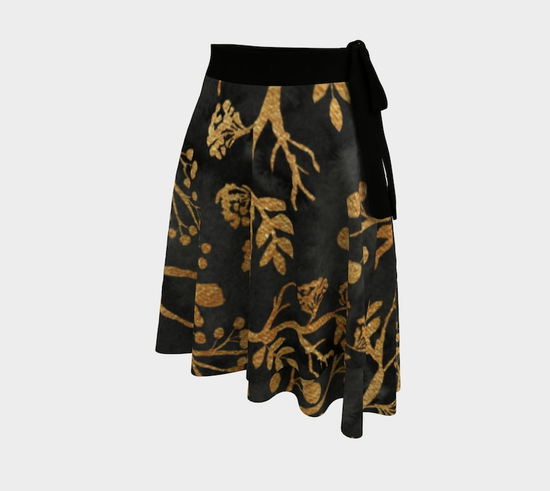 Leaves and Branches Gold Glitter Pattern Wrap Skirt
