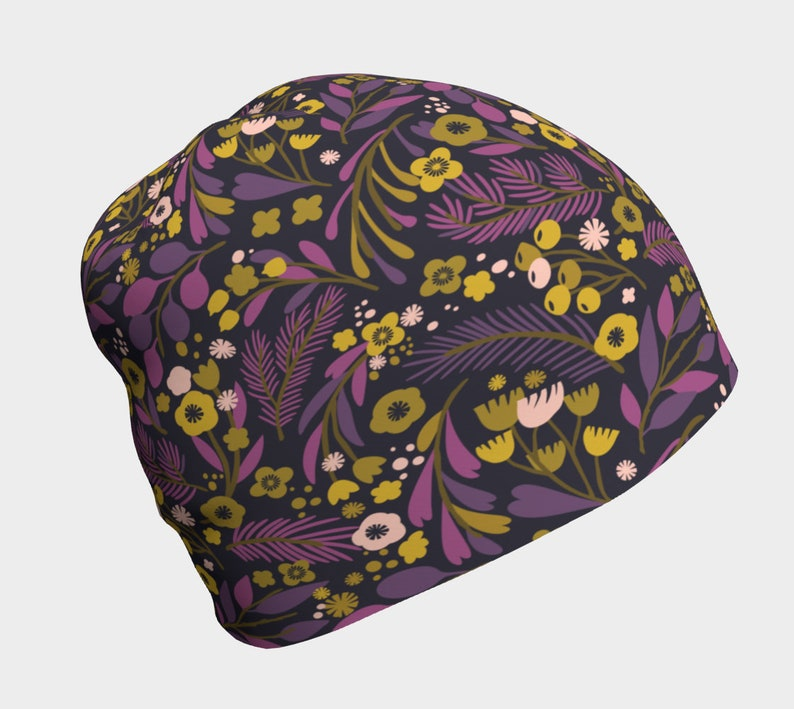 Purple and Violet Floral Pattern Beanie Chemo Beanie Slouchy Hat Slouchy Beanie Spring Beanie Cancer Beanie