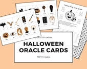 Witchy Halloween Oracle Deck: 20 Printable Oracle Cards + Tarot Spread Template | PDF Printable | Digital Download | A4 & US Letter Version