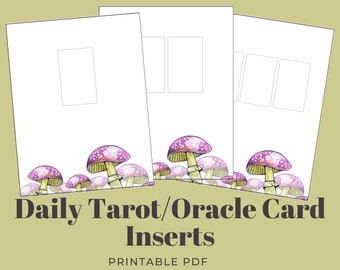 Daily Tarot/Oracle Card Sheets, 1-3 Cards | Bullet Journal Inserts w/ Witchy Mushroom Illustration | Grimoire | A4 & US Letter PDF + PNG