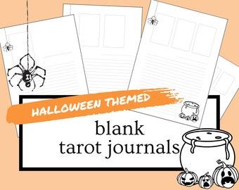 HALLOWEEN Themed Blank Tarot Journal Sheets | PDF Printable for Instant Download | 1-4 Cards Spreads | A4 & US Letter Sized