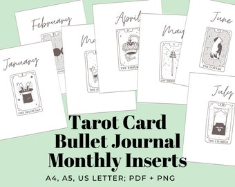 Bullet Journal Inserts: Printable Monthly Covers w/ Tarot Cards | A4, A5 + US Letter Sized PDF + PNG for Instant Digital Download