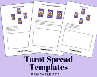 Tarot Spread Templates Workbook | 3 Spreads For Tarot & Oracle Card Readings | A4 + US Letter PDF Printable for Instant Digital Download