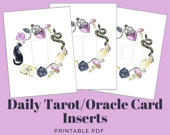 Daily Tarot/Oracle Card Sheets, 1-3 Cards | Bullet Journal Inserts w/ Witchy Wreath Illustration | Grimoire | A4 & US Letter Sized PDF + PNG