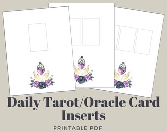 Daily Tarot/Oracle Card Sheets, 1-3 Cards | Bullet Journal Inserts w/ Witchy Rose Illustration | Grimoire | A4 & US Letter Sized PDF + PNG