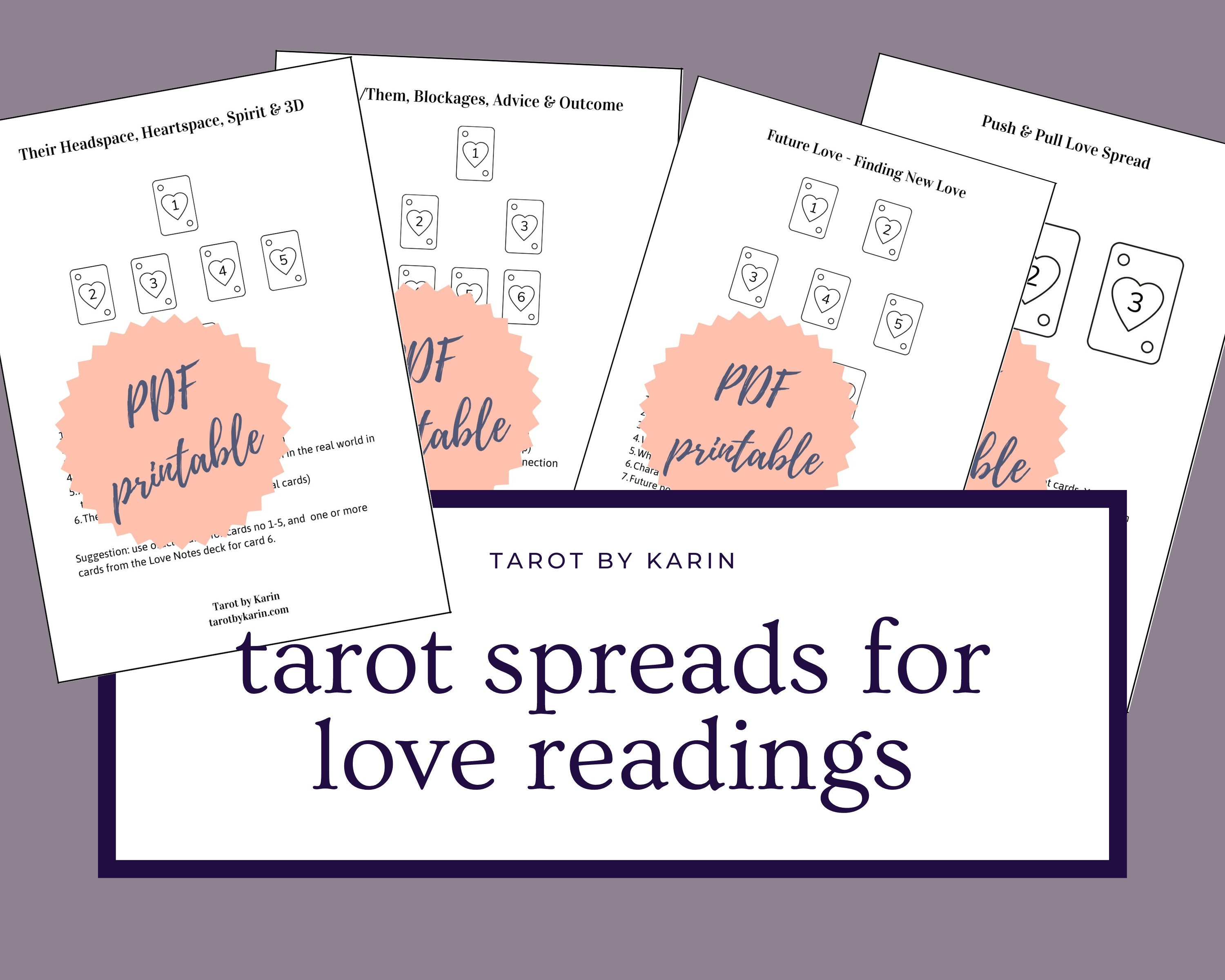 Love Spread Templates for Tarot & Oracle Card Readings   Tarot Reading  Templates for Beginners   A20 + US Letter Sized PDF Printable