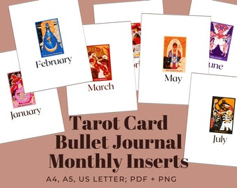 Bullet Journal Inserts: Printable Monthly Covers w/ Colorful Tarot Cards | A4, A5 + US Letter Sized PDF + PNG for Instant Digital Download