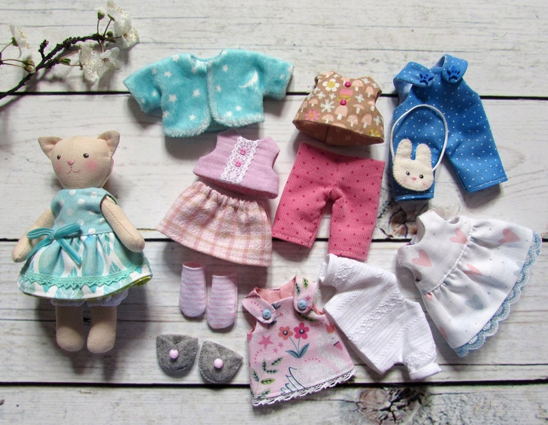 Personalized Easter gift girl Doll clothes Dollhouse quiet book with 4 rooms Dollhouse with 5 inch KITTEN doll and LARGE set of clothes