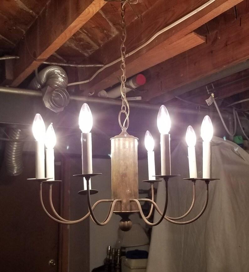 Vintage Copper Chandelier Farm House Candelabra Light