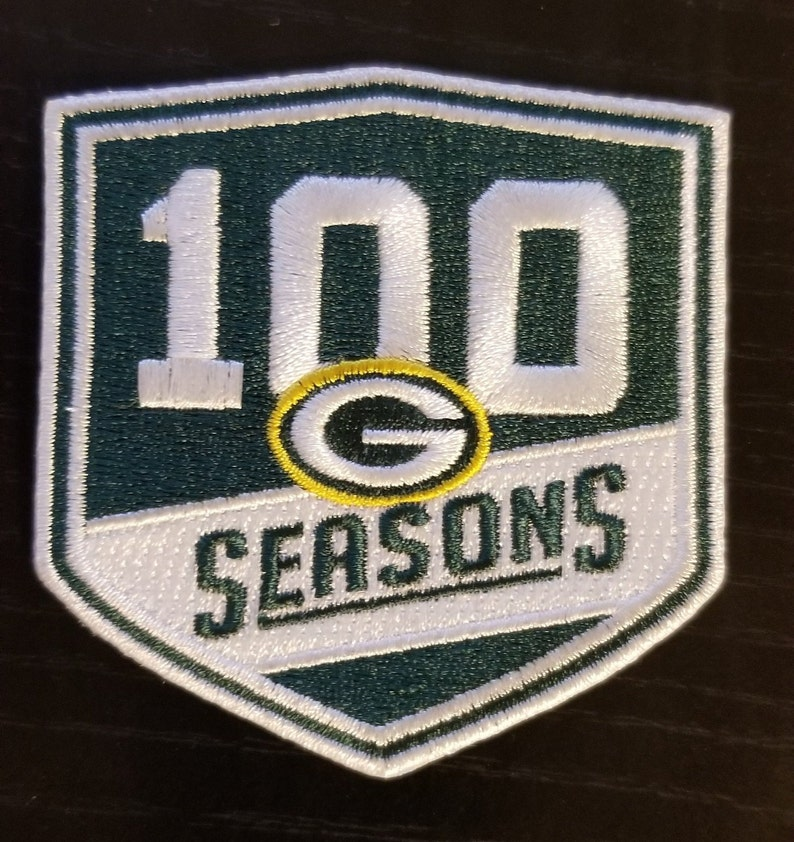 best service da90b 13cec 100 Seasons Green Bay Football Jersey Patch - 100 Anniversary - Easy Iron  On Patch Just like the Players wear!