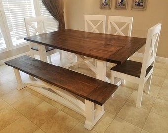 Farmhouse Table With Bench Etsy