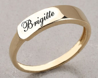 14k Gold Tiny Signet Ring, Basmala Ring, Personalize Simple Ring, Gold Name Ring, Gold Letter Ring, Gold Gift for Mom, Ring for Men, Woman