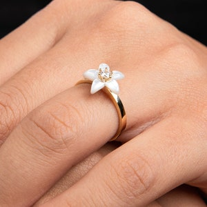 Valentine/'s Day Gift Spring Blossom Ring Floral Ring Pink Flower Ring 14K Solid Gold Cherry Blossom Ring Gold Blossom Ring Sakura Ring