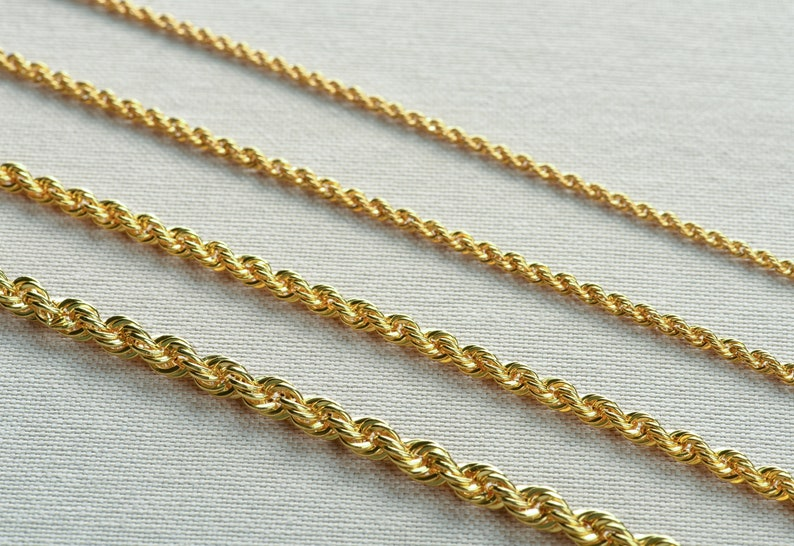 Gold Rope Chain Necklace 2,94 MM Gold Chain for Men Minimalist Style Chain Boyfriends Gift Chain Layering Necklace jewelry Thin Chain