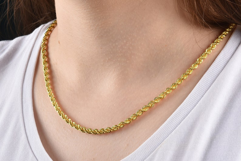 a30095243780d 14K Yellow Gold Rope Chain, 4.30mm Gold Rope Chain Necklace, Solid Gold  Hollow Chain, Link Chain Necklace, Pendant Gold Chain, Gold Chain