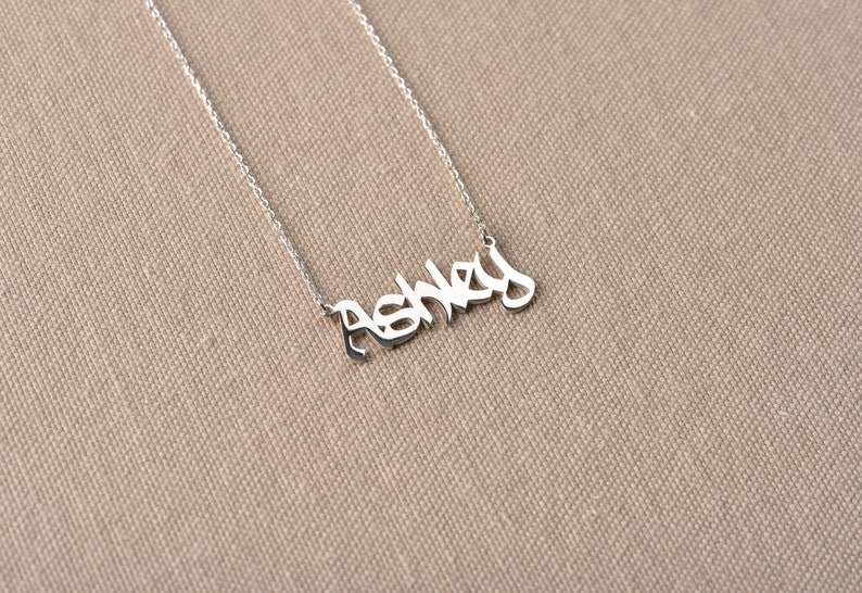 Personalized Necklace Silver Necklace Old English Letter Necklace Old English Necklace Gothic Name Necklace Old English Name Necklace