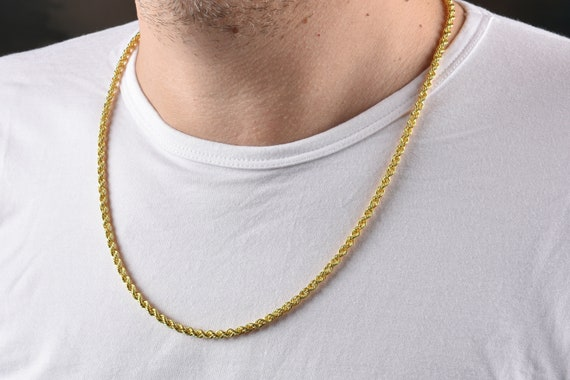 Mens or Ladies 10K Yellow Gold 4 MM Hollow Rope Chain Necklace 16-28 Inches