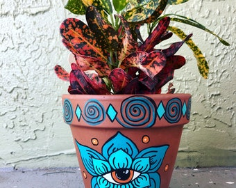 Hand Painted Terra-cotta Pot (made to order)