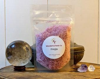 Freyja Ritual Bath Salts / Deity Inspired Epsom Salt Body & Foot Soak / Coconut Oil / Unisex Devotional Blend / Enchanted Forrest Fragrance