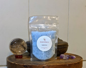 Sagittarius Zodiac Inspired Bath Salts / Astrology Sign Epsom Salt Body & Foot Soak / Cool Crisp Winter Day Scent / Eucalyptus / Peppermint