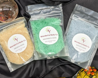 Three Pagans and A Cat Collection Bath Salts / Pagan Podcast Inspired Epsom Salt Body & Foot Soak / Essential Oil / Unisex Soaks and Scrubs