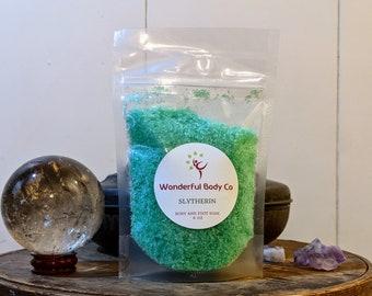 Slytherin Bath Salts / Book Inspired Epsom Salt Body & Foot Soak / Coconut Oil /Harry Potter / J.K. Rowling / Unisex Bergamot Tea Scent