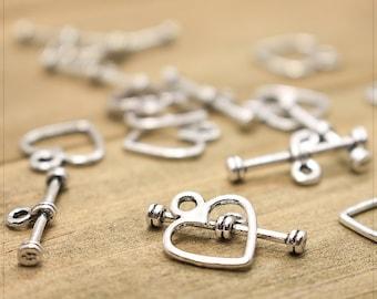 5 Stück #Z107 Silber Pfeil Toggle Bar Herz Set Knebelverschluss