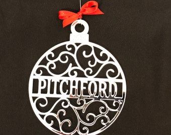 Personalized Christmas Ornament, Scrollwork Pattern, Custom Family Name