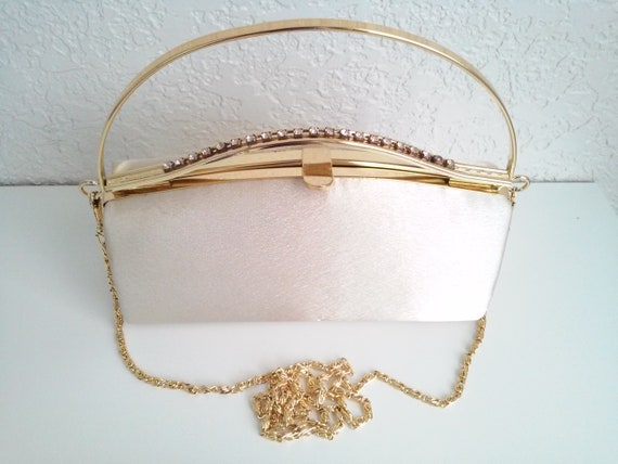 Gold Fabric with Stunning Metal Handle Evening Bag