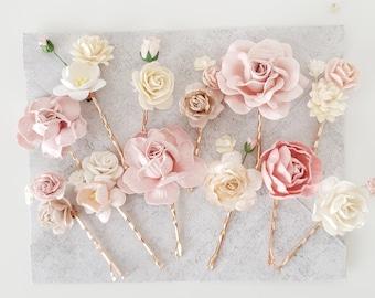 Ivory wedding hair roses flowers grips or pins bridal tiara accessories