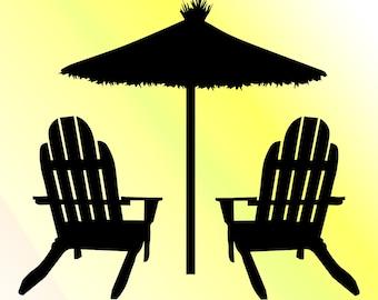 Beach chair cut file | Etsy