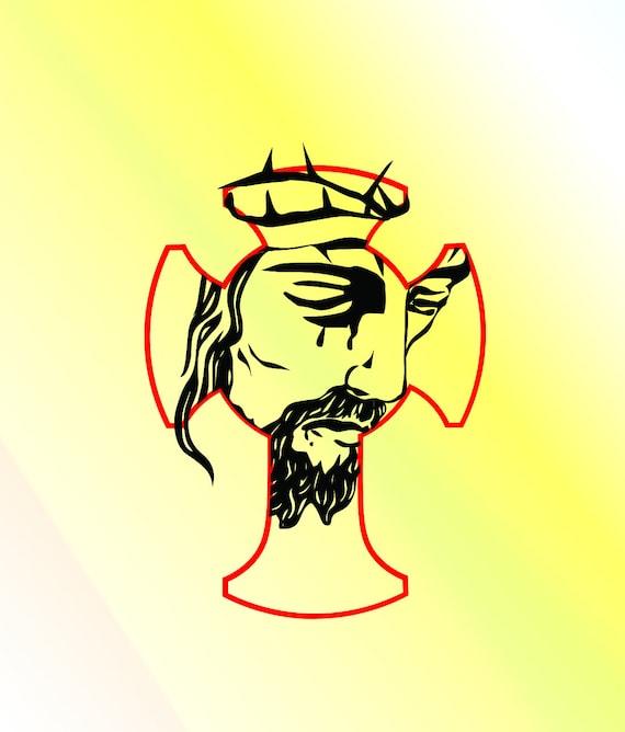 Jesus Christ Face In Cross Svg Dxf Pdf Eps Png Cricut Etsy